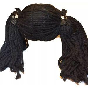 NCIS Abby Sciuto Goth Black Pigtails Skull Bow Wig